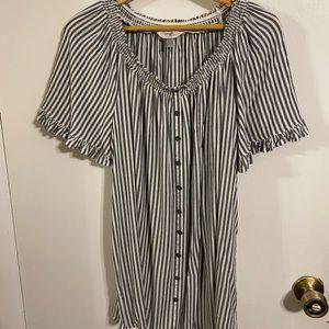 Terra & Sky black/white stripped shirt. Size 0X.